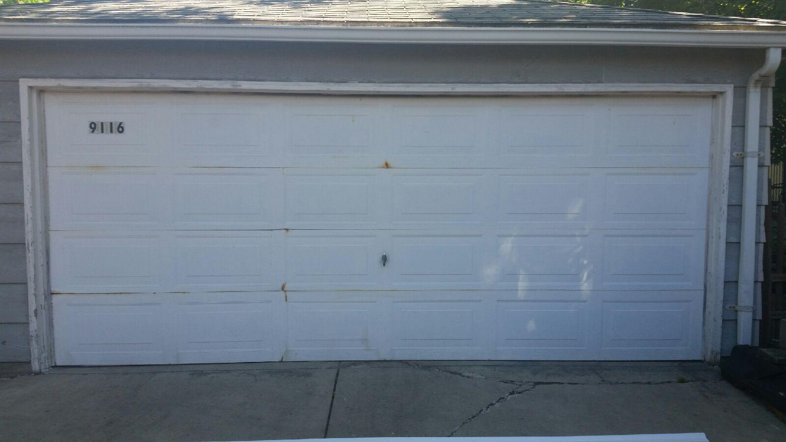 Old Broken Garage Door Mt Greenwood Chicago Il Before